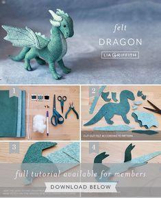 Felt Patterns Free, Felt Animal Patterns, Stuffed Animal Patterns, Felt Crafts Diy, Felt Diy, Handmade Felt, Dragon Mobile, Felt Dragon, Felt Embroidery