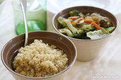 Receta muy saludable de quinoa con verduras salteadas, muy rica... www.cocinasalud.com