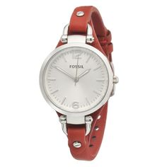 Fossil Georgia Red Leather Band Silver Stainless Steel Case Women's Watch ES3147 #Fossil #Casual