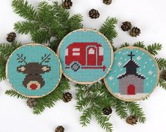 "christmas ornament needlepoint kit - diy - camper, little rudolph, chapel in the snow - 3.5"" - contemporary - modern"