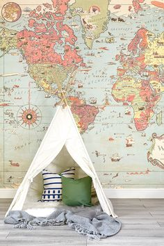 Removable wallpaper world map wallpaper kids wallpaper world kids vintage world map muralswallpaper gumiabroncs Image collections