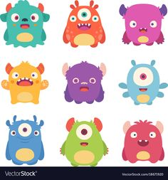 Find Cute Cartoon Monsters stock images in HD and millions of other royalty-free stock photos, illustrations and vectors in the Shutterstock collection. Thousands of new, high-quality pictures added every day. Cute Monsters Drawings, Cartoon Monsters, Little Monsters, Cute Monster Illustration, Image Monster, Cartoon Mignon, Monster Pictures, Monster Drawing, Stoff Design