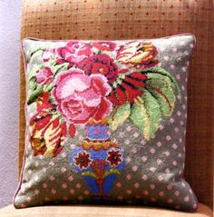 If I make one needlepoint pillow this year this is probably the winner for 2013! Design Kaffe Fassett design and wool