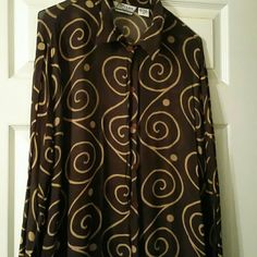 Blouse Beautiful brown and gold sheer blouse. Tops Blouses
