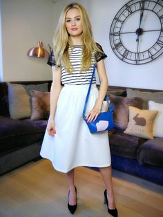 summer/spring //  top- black and white stripes t-shirt with black lace sleeves skirt- long and white shoes- black heels bag- blue and white with blue strap