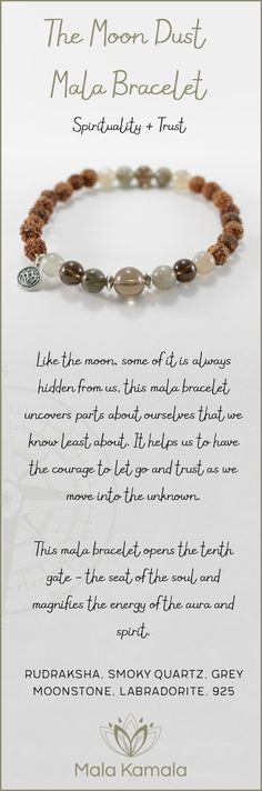 Pin To Save, Tap To Shop! The Moon Dust Mala Bracelet for spirituality and trust. With rudraksha, smoky quartz, grey moonstone, labradorite and 925 sterling silver. Mala Kamala Mala Beads - Malas, Mala Beads, Mala Bracelets, Tiny Intentions, Baby Necklaces, Yoga Jewelry, Meditation Jewelry, Baltic Amber Necklaces, Gemstone Jewelry, Chakra Healing and Crystal Healing Jewelry, Mala Necklaces, Prayer Beads, Sacred Jewelry, Bohemian Boho Jewelry, Childrens and Babies Jewelry.