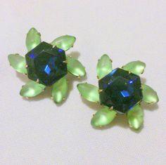 Vintage Blue and Green Rhinestone Flower Earrings by BorrowedTimes