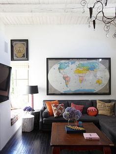 Maps are seeing the spotlight right now. Jump on the trend with a collection of framed smaller maps, or go all out with a framed oversize map: http://www.bhg.com/decorating/decorating-style/flea-market/flea-market-chic-home-accents/?socsrc=bhgpin041714geographylesson&page=5