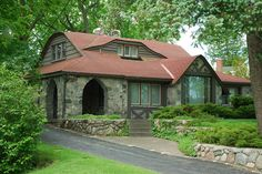 Earl Young Stone House with Red Roof, via Flickr. Charlevoix, MI