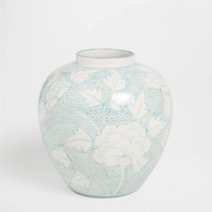 Ceramic glass vase with hand-painted leaf pattern - Vases - Decoration | Zara Home Sweden