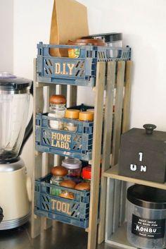100均すのことコンテナで簡単!食品・調味料収納ラック
