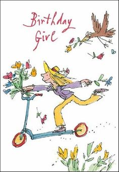 £2.99 GBP - Quentin Blake Birthday Girl Greeting Card Popular Range Greetings Cards #ebay #Home & Garden
