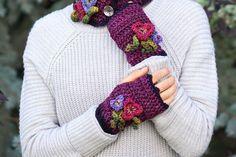 RESERVED for ARLENE Pansy Fingerless Gloves by ValerieBaberDesigns