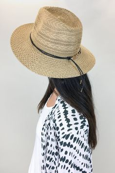 Straw, street style beach hat with black tie, this is the perfect accessory this summer.