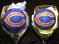 Chicago Bears Rhinestone Red Wine Glass.