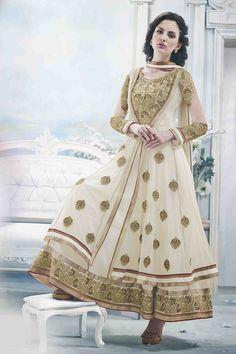 Glamorous Off White Anarkali Dress Material- 30% #Discount #Eid #EidSpecial #Anarkali #DressMaterial
