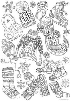 Winter Outfits - Printable Adult Coloring Page from Favoreads (Coloring book pages for adults and kids, Coloring sheets, Coloring designs) Kids Sheets, Coloring Sheets For Kids, Printable Adult Coloring Pages, Free Coloring Pages, Coloring Books, Christmas Coloring Pages, Grafik Design, Art Plastique, Christmas Colors