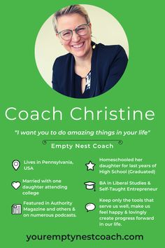 Meet the amazing Christine Maziarza @emptynestcoach - one of my favourite people in the world!    Christine has loads of energy, she somehow manages a day job, a podcast, a membership site and a YouTube Channel, while being an awesome Mom and wife.  Find out more in our interview. Christine is our latest featured Mompreneur.  #youremptynestcoach #emptynester #emptynestmom #coach #podcaster #youtuber #featuredmompreneur Empty Nest Syndrome, Other Mothers, Online Friends, Do You Work, Self Empowerment, Awesome Mom, You Are Amazing, Life Purpose, Best Mom