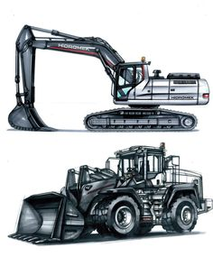 No photo description available. Heavy Construction Equipment, Heavy Equipment, Construction Machines, Cool Doodles, Industrial Design Sketch, Heavy Machinery, Truck Design, Car Drawings, Commercial Vehicle