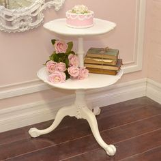 Shabby Cottage Chic 2 Tier Vintage French Style Side Table Round in White