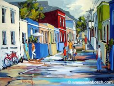 Well-known South African artist, Carla Bosch, depicts a street scene of Bo-kaap, Cape Town. It is a quaint street with a palette of it's own . Paintings I Love, Colorful Paintings, Canvas Paintings, African Colors, Decoupage, South African Artists, Africa Art, Painting Gallery, Art For Art Sake
