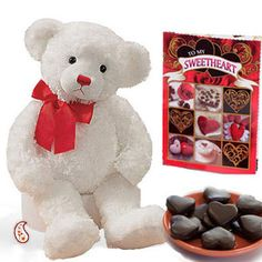 Big white Teddy with Chocolates $48.99