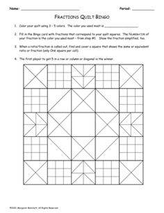 Interesting twist on fraction bingo. In this game, students color in the quilt design and determine the fraction of each square that is colored in their favorite color. Then they fill out their bingo card with the fractions in simplified form and play bingo.