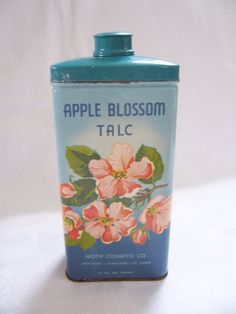 Vintage Apple Blossom Talc Powder Tin - Motif Cosmetic Co. - Shabby Chic. $18.00, via Etsy.