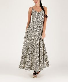 Another great find on #zulily! Black Floral Maxi Dress by Aller Simplement #zulilyfinds