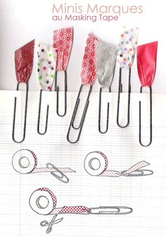 Bookmarks made from washi tape and paperclips