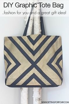 Easy DIY Black and Metallic Gold Tote Bag with a Stylish Graphic Pattern! - great gift idea!   www.settingforfour.com