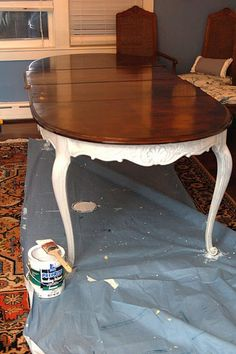 Dining Room Table Stained & Painted diy