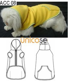 Free dog dress-pants-PJs, costumes, caps (headwear), shirt-coat-sweater pattern & instructions (MOLDE: ACC 08)