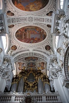 kings only   germany   passau   magnificent 17th century St. Stephen's Cathedral boasts the world's largest chuch organ with 17,774 pipes and 231 resounding stops.