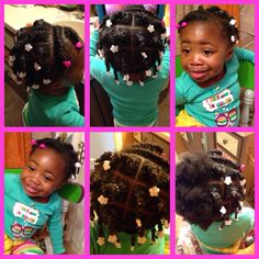 Toddler natural hair  Protective style Flat twist up front two strand twist in back with snaps