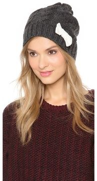 Plush Cable Knit Hat with Bow on shopstyle.com