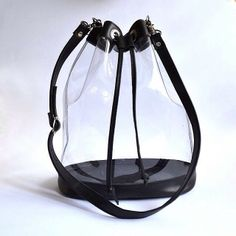 Peny Plastic Drawstring Bucket bag Handmade to by goldenponies Large Bags, Small Bags, My Bags, Purses And Bags, Transparent Bag, Clear Bags, Handmade Handbags, Cute Bags, Casual Bags