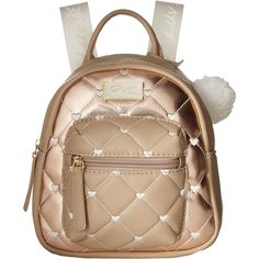 Luv Betsey Ador Mini Backpack (Rose Gold) Backpack Bags (260 NOK) ❤ liked on Polyvore featuring bags, backpacks, gold, rose gold bag, betsey johnson bags, mini zip bags, zip top bag and miniature backpack