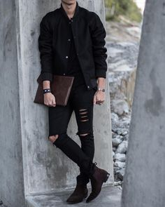 """C Wool Bomber Jacket / River Island """"Ripped"""" Jeans / Paul Smith """"Falconer"""" Suede Chelsea Boots / P.P Laptop Case . Chelsea Boots Outfit, Suede Chelsea Boots, Black Chelsea Boots, Stylish Mens Outfits, Cool Outfits, Urban Fashion, Mens Fashion, Wool Bomber Jacket, Black Ripped Jeans"""