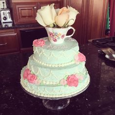 Fiona's sweet tiered cake for her birthday tea party. Tea for Two – Sketch of a Woman