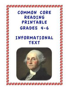 Common Core Reading Informational Text: Grade 4-6 Printable from Stuck in the Middle on TeachersNotebook.com (5 pages)