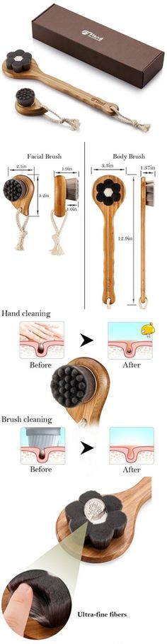 Bath Brushes and Sponges: Flend Soft Charcoal Fibre Bath Brush+Facial Cleasing Brush Long Bamboo Handle -> BUY IT NOW ONLY: $30.99 on eBay!