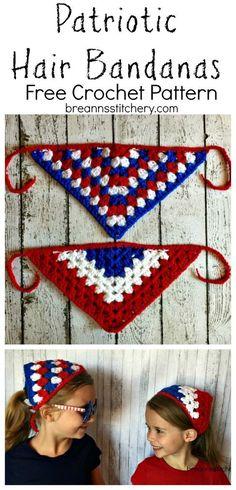 Crochet Patriotic Bandanas | Free Pattern