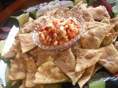 Cinnamon Sugar flour tortilla chips with fruit salsa