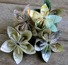 """Hi Everyone I made these flowers this afternoon. It's actually surprising how quick they are to make - to give you an idea - I made these in the time it takes for 2 """"Dora the Explorers"""" to play on DVD.. You can also see these flowers made with maps here For those with no kids or kids over the age 8 - that's about 50 minutes! It's also the last day of Breast Cancer Awareness Month too - so a big HELLO and THANK-YOU to anyone who has donated in any way or helped fundraise ..."""