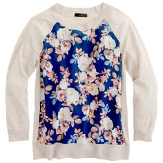 J.Crew Merino silk-panel sweater in antique floral found on Polyvore