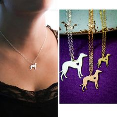 Greyhound Necklace Silver Dog Personalized Pets by IvyByDesign