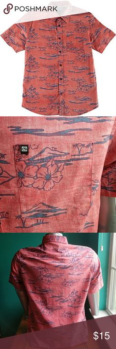 Ocean Current Mens Hidden Hula Woven Shirt Ocean Current brings beach-influenced style to your favorite trends. Hidden Hula shirt features button-front closure, point collar, and island design.  Machine Wash  Imported  Short Sleeve  Cotton Ocean Current Shirts Casual Button Down Shirts