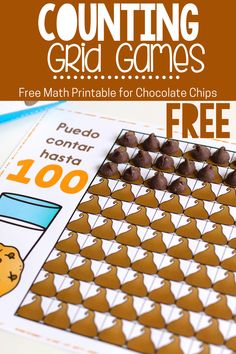 Free counting grid games your preschoolers and kindergarteners will enjoy. This kid's counting activity is perfect for learning to count, basic addition skills and basic subtraction skills. Your students will enjoy using chocolate chips to count! #countto100 #hundredchart #preschoolmathgame #mathcenters #kindergartenmathgame #mathgames #freeprintable