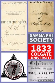 Gamma Phi Society of 1833 merged into the Adelphian Society in 1840 which led to the Delphic Society in 1850 which then led to the Delphic Fraternity in Sigma Tau, Gamma Phi, Normal School, Fraternity, Constitution, University, Led, Bill Of Rights, Community College